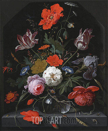Flowers in a Glass Vase on a Ledge, c.1665/70 | Abraham Mignon | Painting Reproduction