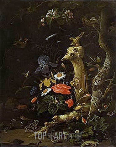 Field Flowers and Birds, undated   Abraham Mignon   Painting Reproduction