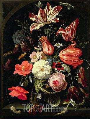 Still Life of Flowers on a Ledge, undated | Abraham Mignon | Gemälde Reproduktion