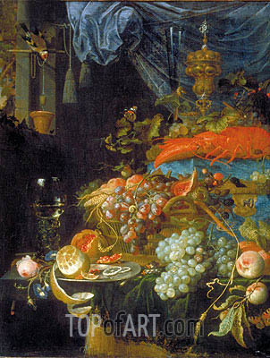 Still Life with Fruit and a Goldfinch, 1679 | Abraham Mignon | Gemälde Reproduktion