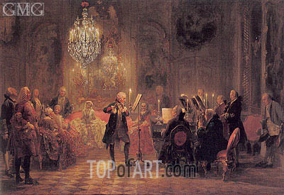 The Flute Concert of Frederick The Great at Sanssouci, c.1850/52 | Adolf von Menzel | Painting Reproduction
