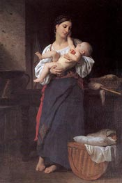 First Caresses | Bouguereau | Gemälde Reproduktion