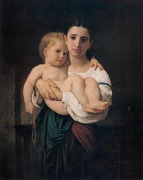 The Elder Sister, undated by Bouguereau | Painting Reproduction