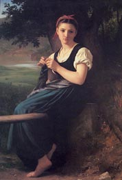 La tricoteuse (The Knitting Girl), 1869 by Bouguereau | Painting Reproduction