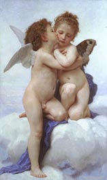 Cupid and Psyche as Children, 1889 von Bouguereau | Gemälde-Reproduktion