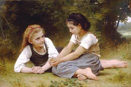 Les Noisettes (The Nut Gatherers), 1882 by Bouguereau | Painting Reproduction