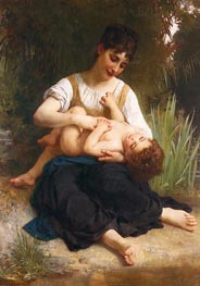 The Joys of Motherhood (Girl Tickling a Child), 1878 by Bouguereau | Painting Reproduction