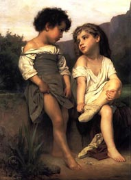 At the Edge of the Brook, 1879 by Bouguereau | Painting Reproduction