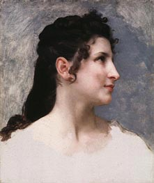 Study of a Girl's Head, 1840 von Bouguereau | Gemälde-Reproduktion
