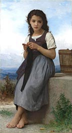 La Tricoteuse (The Little Knitter), 1884 by Bouguereau | Painting Reproduction