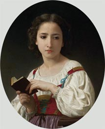The Book Hours, 1867 by Bouguereau | Painting Reproduction