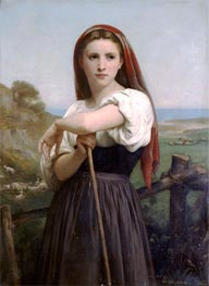 Young Shepherdess, 1868 von Bouguereau | Gemälde-Reproduktion