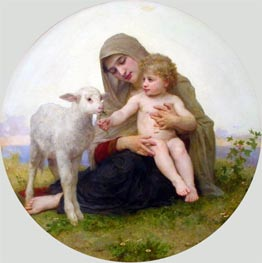 Virgin and Lamb, 1903 von Bouguereau | Gemälde-Reproduktion