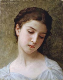 Head of a Young Girl, 1898 von Bouguereau | Gemälde-Reproduktion