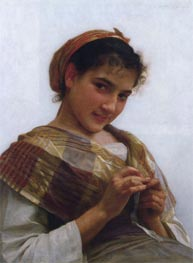 Young Girl Crocheting | Bouguereau | Painting Reproduction