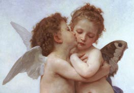 Cupid and Psyche as Children (Detail), 1889 von Bouguereau | Gemälde-Reproduktion