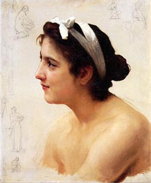 Study of a Woman for Offering to Love, Undated von Bouguereau | Gemälde-Reproduktion