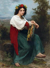 The Italian Girl with Basque's Tambourin, 1872 von Bouguereau | Gemälde-Reproduktion
