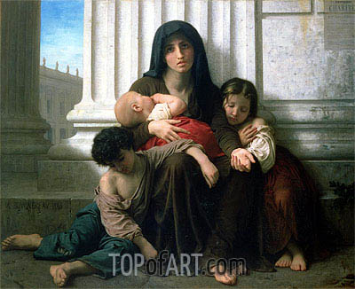 Charity (The Indigent Family), 1865 | Bouguereau | Gemälde Reproduktion