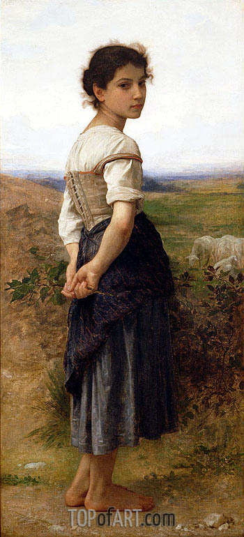 The Young Shepherdess, 1885 | Bouguereau | Gemälde Reproduktion