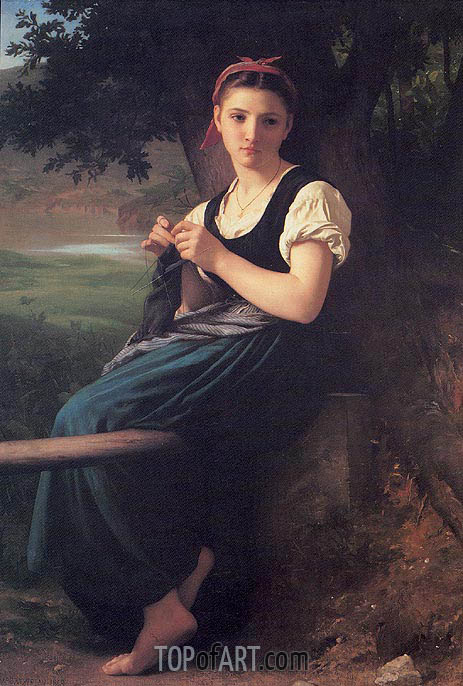 La tricoteuse (The Knitting Girl), 1869 | Bouguereau | Painting Reproduction