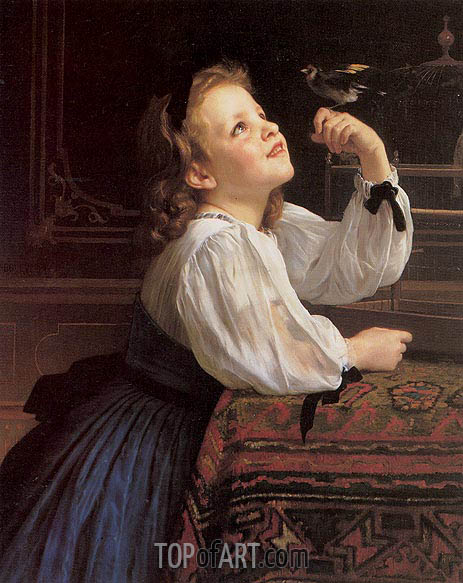 The Pet Bird, 1867 | Bouguereau | Gemälde Reproduktion