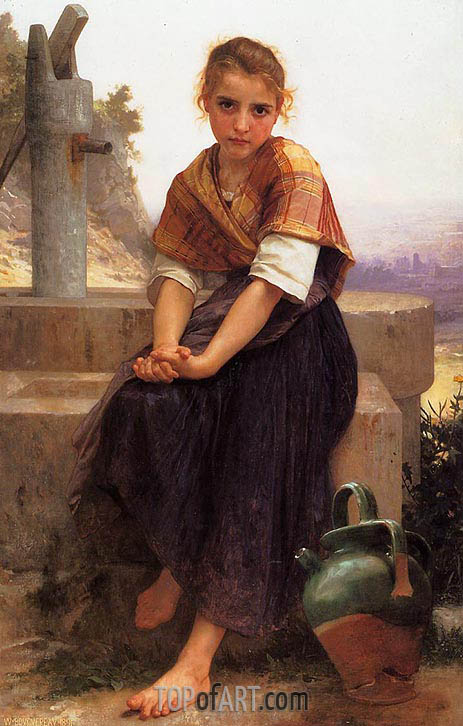 The Broken Pitcher, 1891 | Bouguereau | Painting Reproduction