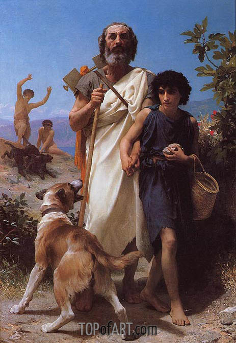 Homer and His Guide, 1874 | Bouguereau | Painting Reproduction