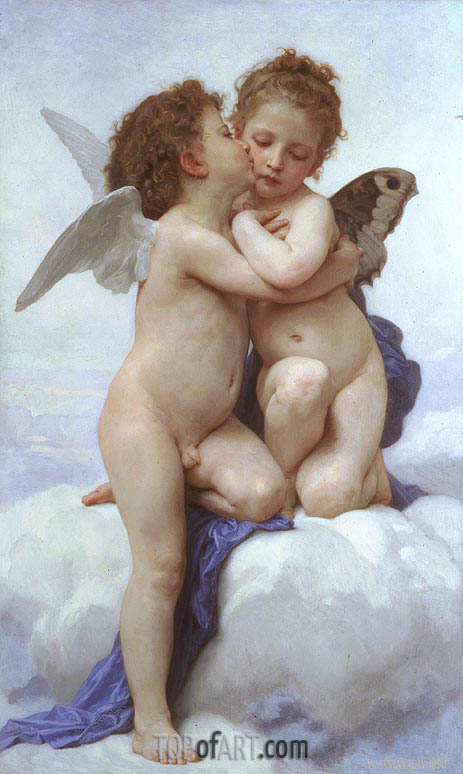 Cupid and Psyche as Children, 1889 | Bouguereau | Painting Reproduction