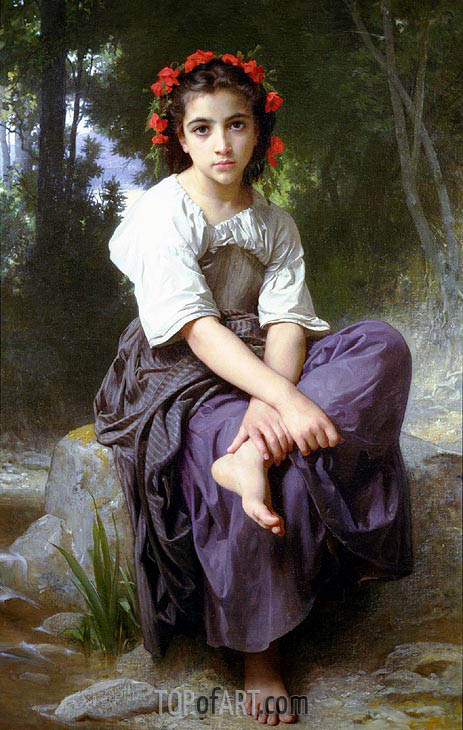 At the Edge of the River, 1875 | Bouguereau | Painting Reproduction