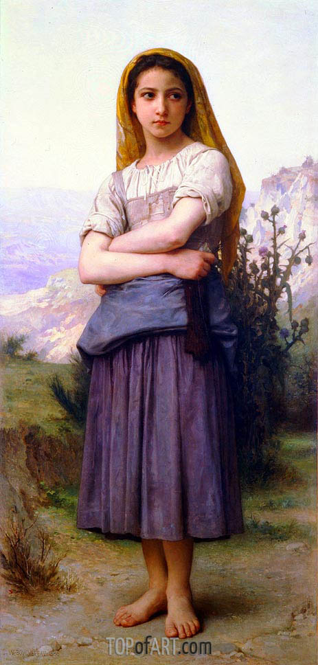 The Knitter, 1884 | Bouguereau | Painting Reproduction