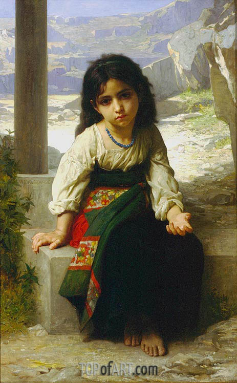 The Little Beggar, 1880 | Bouguereau | Painting Reproduction