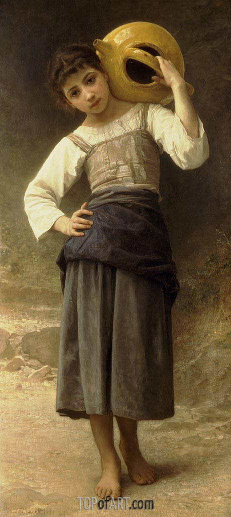 Young Girl Going to the Fountain, 1885 | Bouguereau | Painting Reproduction