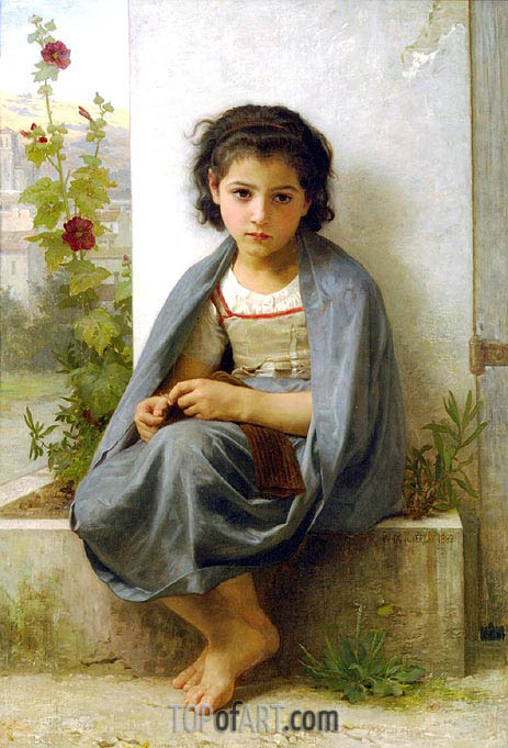 The Little Knitter, 1882 | Bouguereau | Painting Reproduction
