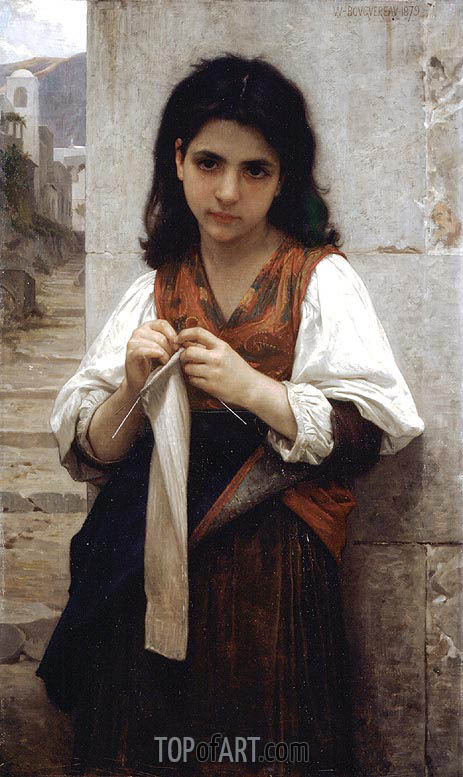 The Little Knitter, 1879 | Bouguereau | Painting Reproduction