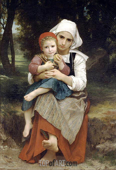 Breton Brother and Sister, 1871   Bouguereau   Painting Reproduction