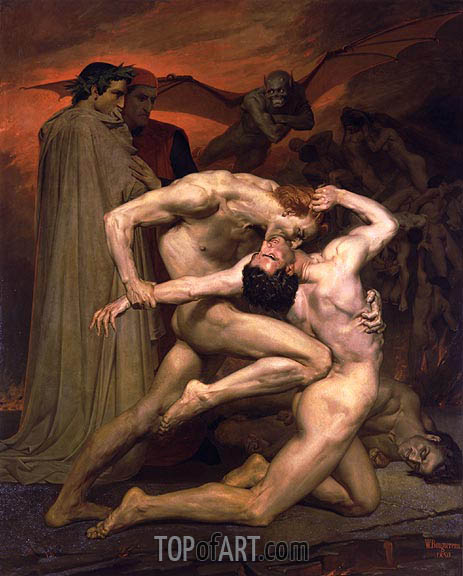 Dante and Virgil in Hell, 1850 | Bouguereau | Painting Reproduction