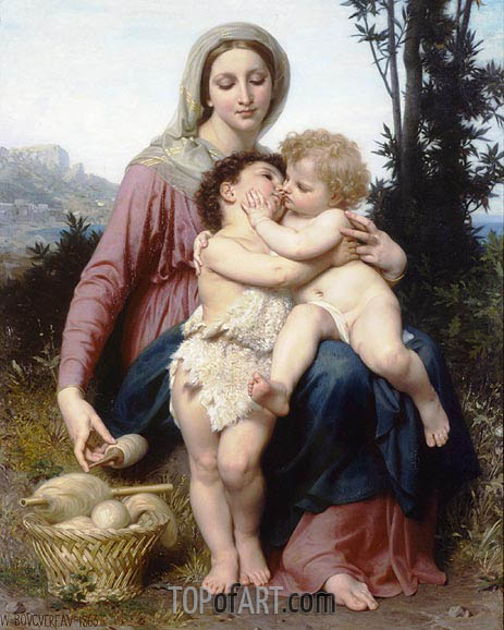 Madonna with the Christ Child and Saint John the Baptist, 1863 | Bouguereau | Painting Reproduction