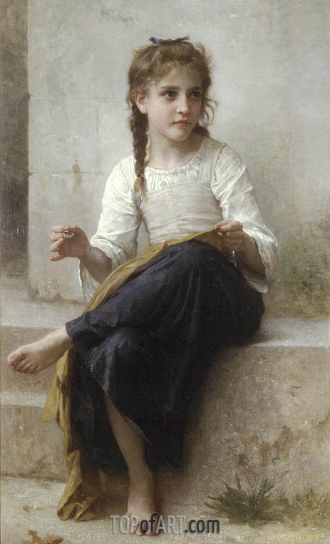 Sewing, 1898 | Bouguereau | Painting Reproduction