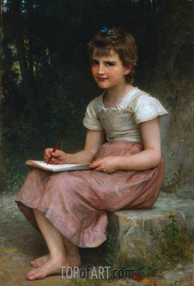 A Calling (Seated Girl Writing), 1896   Bouguereau   Painting Reproduction