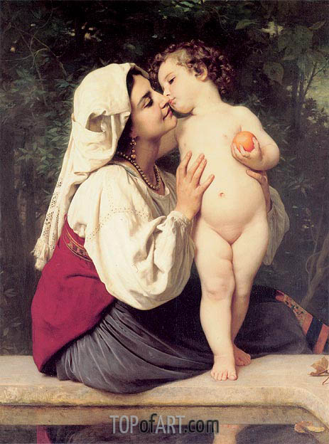The Kiss, 1863 | Bouguereau | Painting Reproduction