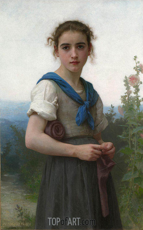 La Tricoteuse, 1891 | Bouguereau | Painting Reproduction