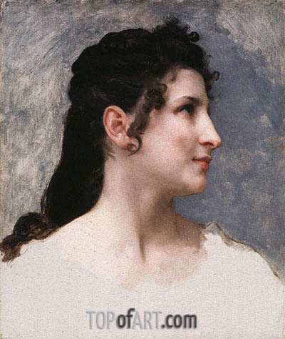 Study of a Girl's Head, 1840 | Bouguereau | Painting Reproduction