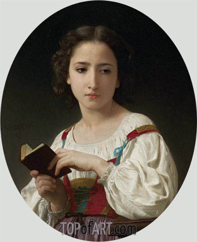 The Book Hours, 1867 | Bouguereau | Painting Reproduction