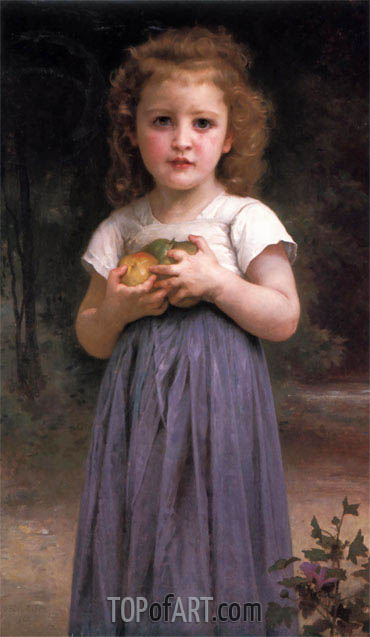 Little Girl Holding Apples in Her Hands, 1895 | Bouguereau | Painting Reproduction