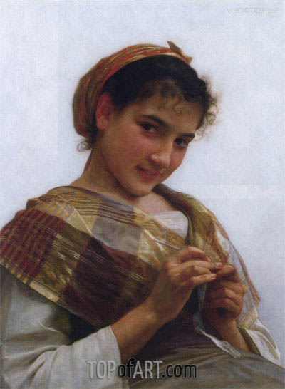 Young Girl Crocheting, 1889 | Bouguereau | Painting Reproduction