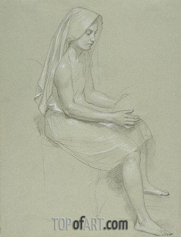 Study of a Seated Veiled Female Figure, Undated | Bouguereau | Gemälde Reproduktion
