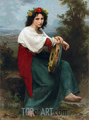 The Italian Girl with Basque's Tambourin, 1872 | Bouguereau | Painting Reproduction