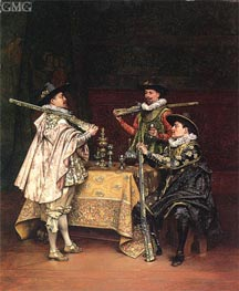 Discussing The Day's Shoot, 1899 by Lesrel | Painting Reproduction
