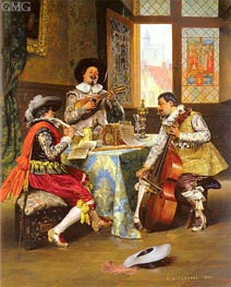 The Musical Trio, 1890 by Lesrel | Painting Reproduction